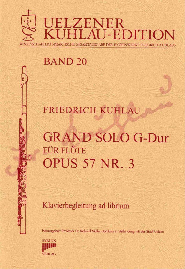 Syrinx Nr. 144 Friedrich Kuhlau Grand Solo G-Dur Op.57 Nr. 3 Flöte solo / Klavier ad libitum